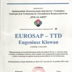 Rekomendacja kompetencji technicznych firmy EUROSAP-LTD udzielona przez POLALARM
