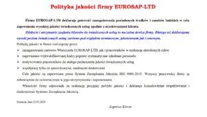 polityka jakosci eurosap 2018